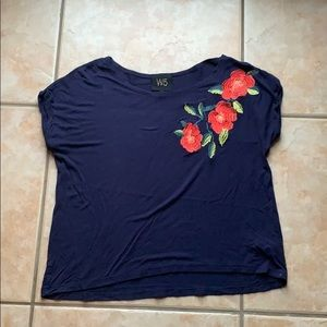Anthro + W5 Navy Blue Floral Embroidered Tee Small